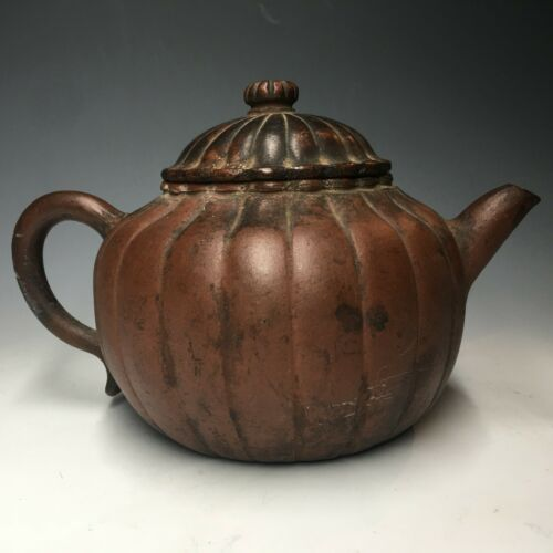 RARE Antique Yixing Zisha Clay Chinese Qing Teapot Melon Gourd Persimmon Form