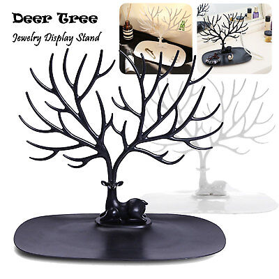 (Jewelry Deer Tree Stand Display Organizer Necklace Ring Earring Holder Show Rack)