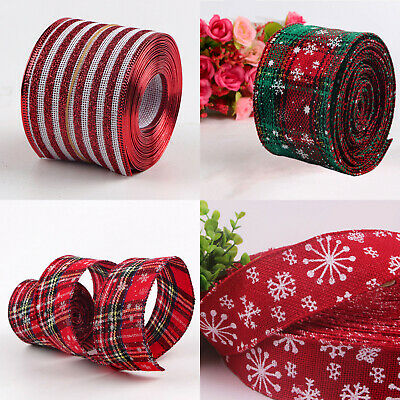 Christmas Wired Ribbon (Christmas Glitzy Net Wired Ribbon Glitter Holiday Gift Wrap Crafts W:2.5