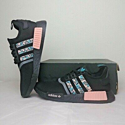 Size 9 Men's adidas NMD R1 STLT Primeknit Casual Shoes FV3853 Black/Hi-Res Aqua