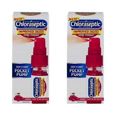 2 pack Chloraseptic Sore Throat Spray Pocket Pump Cherry, 0.67oz ea Best by