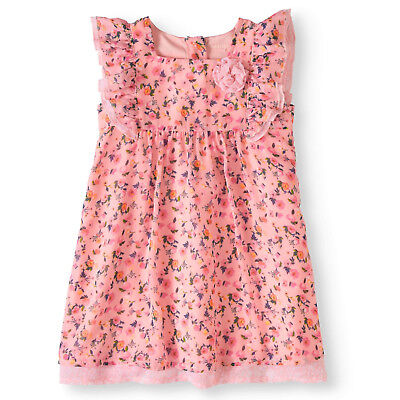Healthtex Toddler Girl Coral Floral Flutter Sleeve Baby Doll Dress Size 2T