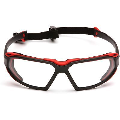 Pyramex Highlander Safety Glasses With Clear Anti-fog Lens And Blackred Frame