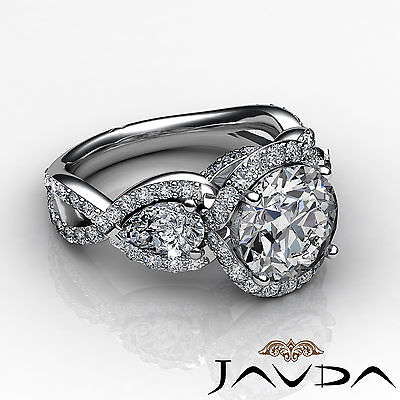 3 Stone Halo Cross Shank Pave Set Round Diamond Engagement Ring GIA F SI1 2.4Ct 2