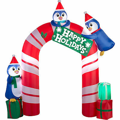 Christmas Santa Archway Arch Candy Cane Penguins Airblown Inflatable 10.5 Ft