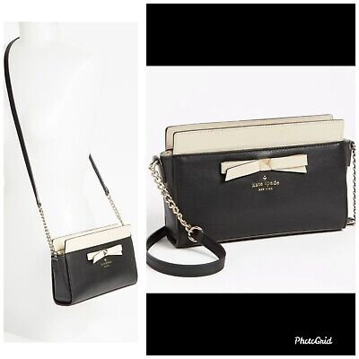 $295 Kate Spade Crossbody Bag Hancock Park Angelica Leather Black Beige Bow