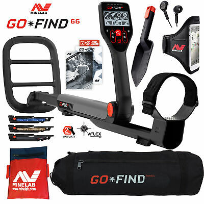 Minelab Go Find 66 Detector Holiday Bundle With Carry Bag Treasure Finds Pouch