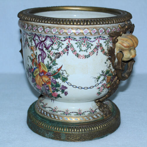 STUNNING UNITED WILSON PORCELAIN BOWL WITH BRASS BASE RIM HANDLES AMAZING COLORS