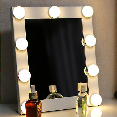 White Vanity Lighted Hollywood Makeup Mirror with Dimmer Stage Beauty Mirror M