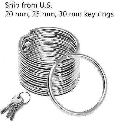 Premium Pack 20/25/30 mm Key Rings Chains Split Ring Hoop Metal Steel in Silver (Key Chain Rings)