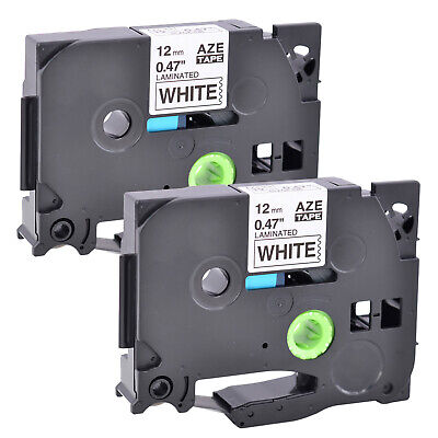 2pk Black On White Label Tape 12mm For Brother Tz-231 Tze-231 P-touch Pt-d210