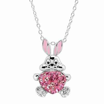 Crystaluxe Bunny Heart Pendant with Swarovski Crystals in Sterling Silver