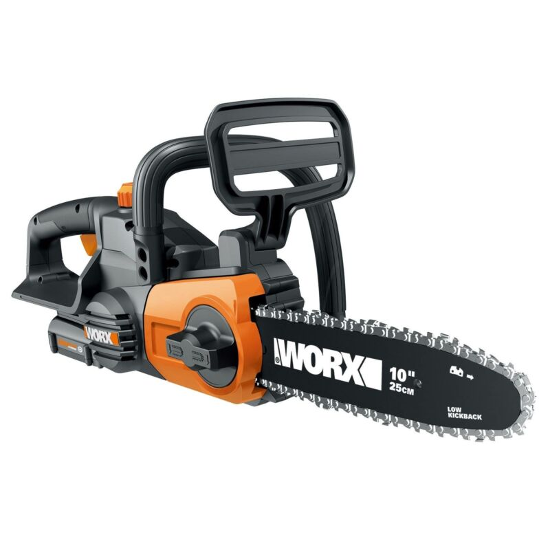 """Worx 20V 10"""" Auto Tension Electric Cordless Chainsaw Tool with Battery & Charger"""