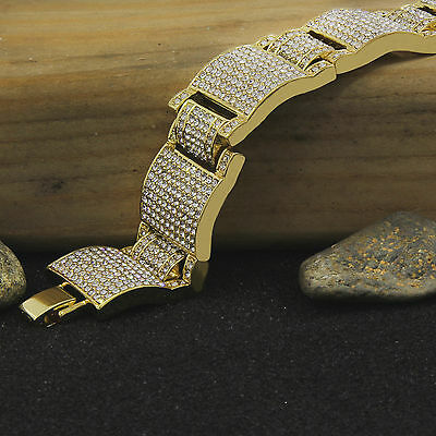 "Men's 14K Gold PT Dome Bracelet Fully Cz Iced Out Finish Hip Hop Style Link 8.5"""
