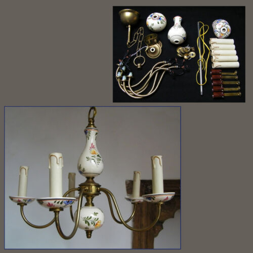 VTG HOLLAND PORCELAIN POLYCHROME DELFT POTTERY CHANDELIER 5 ARMS CEILING LIGHT
