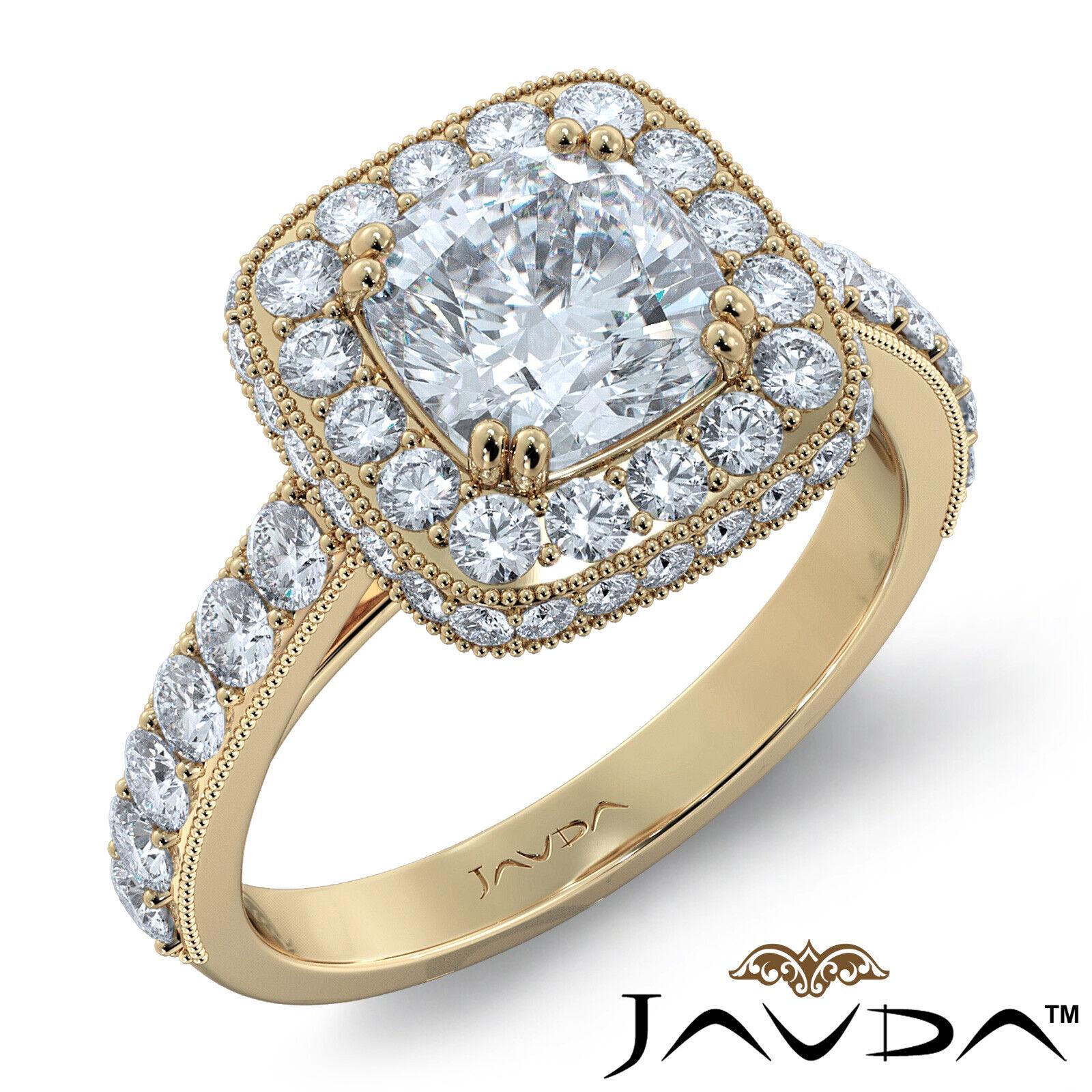 2ctw Milgrain Halo Floral Basket Cushion Diamond Engagement Ring GIA H-VS2 Gold 7