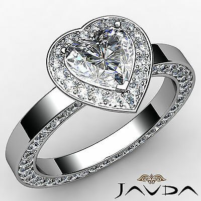 Halo Filigree Channel Pave Set Heart Diamond Engagement Ring GIA H SI1 2.35 Ct