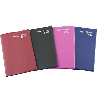 2020 Weekly Planner Notebook Agenda Vinyl Cover Contacts Choose Color 5x7.25