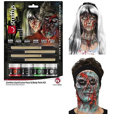 Latex Makeup Kits Halloween (Halloween Zombie Liquid Latex SFX Makeup Kit Gore Prosthetics Face Body 4)