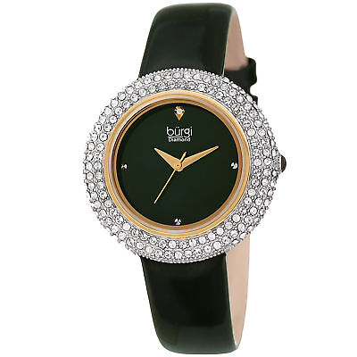 Women's Burgi BUR199GN Diamond Marker Swarovski Bezel Green Leather Strap Watch