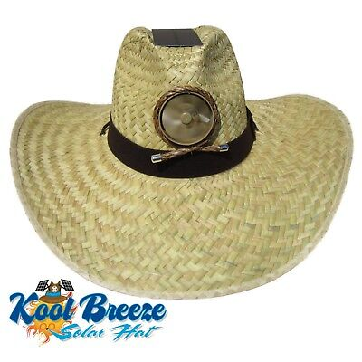 Kool Breeze Gentlemens Natural Solar Straw Hat W Band Solar Cooling Hat  Solar