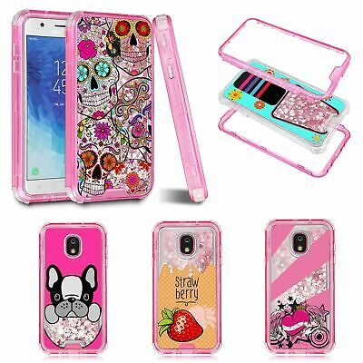 For Samsung Galaxy J3/J7 2018 Glitter Liquid Sparkle Dual Layer Bumper Case Pink
