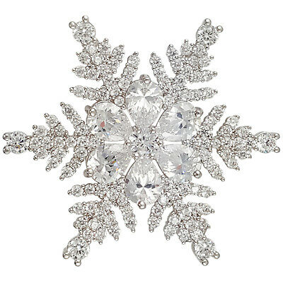 CHRISTMAS CRYSTAL SNOWFLAKE BROOCH PIN PENDANT MADE WITH SWAROVSKI -