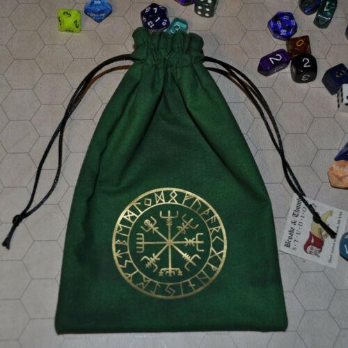 Vegvisir Viking compass Norse rune asatru elder futhark handmade green dice bag