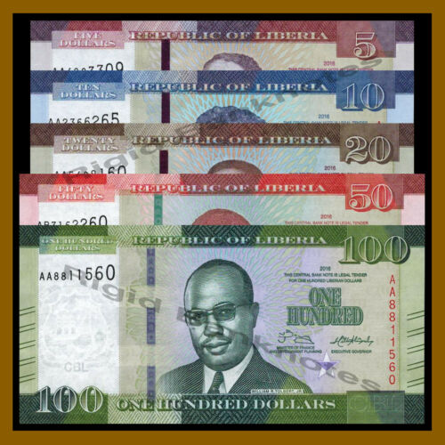 Liberia 5 10 20 50 100 Dollars (5 Pcs Set), 2016 P-31/32/33/34/35 New Design Unc