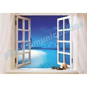 Quadro moderno poster arredo casa finestra sul mare window - Quadro finestra ...