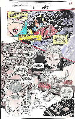 Clive Barker HYPERKIND #8 pg 9 original hand-painted color guide art 1995 signed