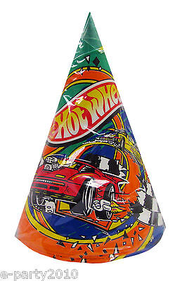 Hot Wheels Party Favors (HOT WHEELS Vintage CONE HATS (8) ~ Birthday Party Supplies Paper Favors)