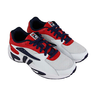 Fila Mindblower Mens White Mesh & Leather Low Top Lace Up Sneakers - Low Leather Sneakers