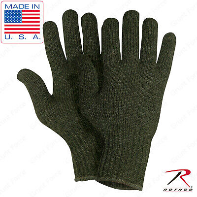 Olive Drab Wool Blend Glove Liner US Made - Winter Weather Blank Military Gloves Olive Drab Wool Glove