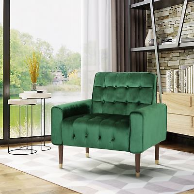Betsy Velvet Armchair, Modern Glam, Button-Tufted, Waffle Stitching Birch Living Room Chair