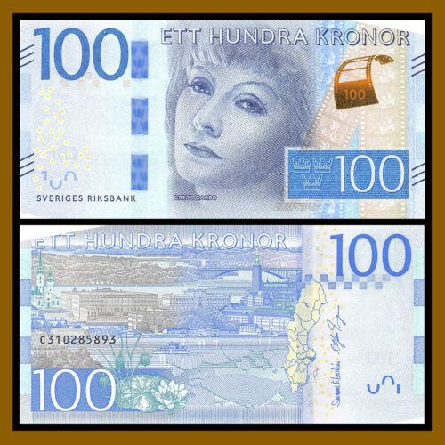 Sweden 100 Kronor, ND 2016 P-71 Redesigned Greta Garbo Unc