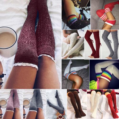 Women Crochet Knit Over Knee Thigh High Boot Socks Stockings