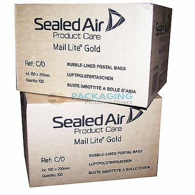 2000 Mail Lite Gold Mailing Padded Postal Bags C/0 150MM X 210MM Envelopes