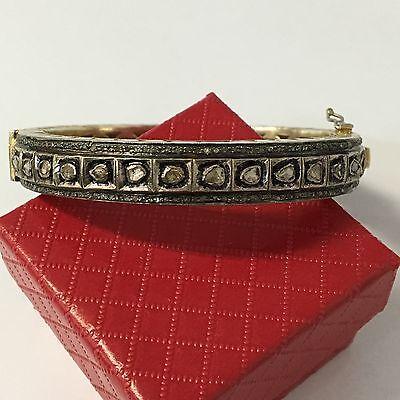 Vintage Antique Sterling Silver Rose Diamond Bangle Bracelet