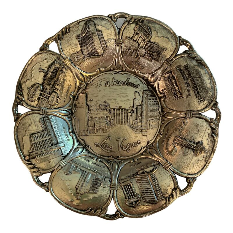 Vintage Memorabilia Souvenir Metal Plate of FABULOUS LAS VEGAS 1950 Casinos