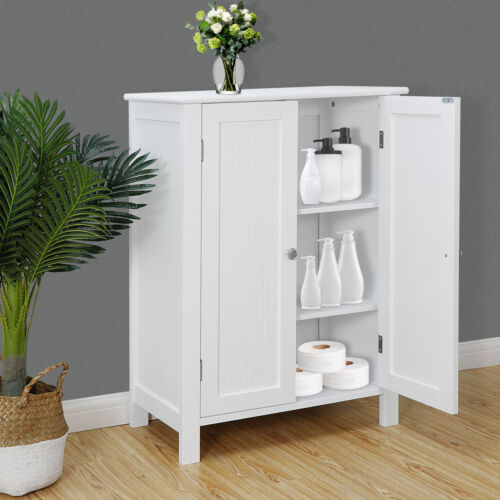 White Wooden Bathroom Floor Cabinet Storage Cupboard 3 Shelv