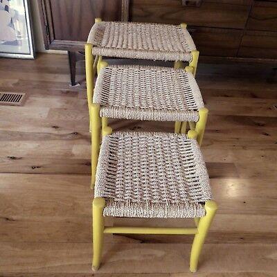 Set 3 Vtg MID CENTURY Danish Nesting Stacking JUTE RUSH SEAT  STOOLS  (Rush Seat Stool Set)