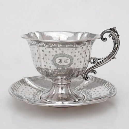Antique French Sterling Silver Cup & Saucer Set Tea or Coffee, Engraved