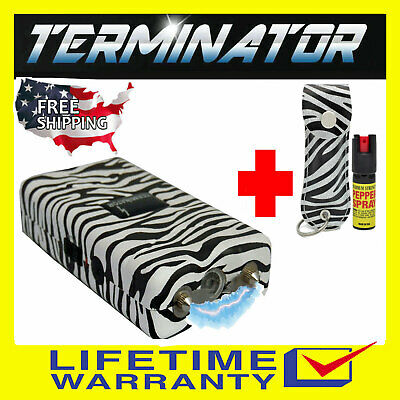 TERMINATOR STUN GUN T800 - 180BV RECHARGEABLE POLICE FLASHLIGHT AND PEPPER SPRAY