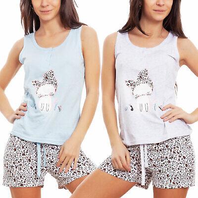 Schlafanzug Frau Unterwäsche Leopard Katze Kätzchen Shorts Sommer - Frau Katze Anzug