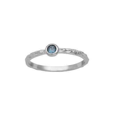 Blue Topaz Stone Stacking 925 Silver Solitaire Stackable Women Wedding Band Ring