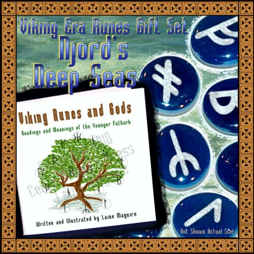 Njord's Deep Seas Viking Runes & Gods Gift Set: Silver D Blue Norse Myth Legend