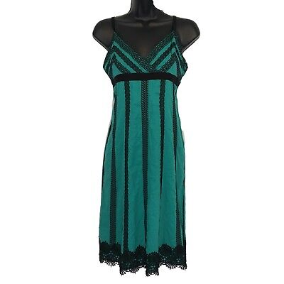 Cotton Empire Waist Chemise - Catherine Malandrino dress 4 green black embroidery spaghetti slip empire
