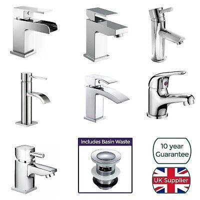 Cloakroom Chrome Luxury Bathroom Modern Basin Sink Mono Square Mixer Tap & Waste