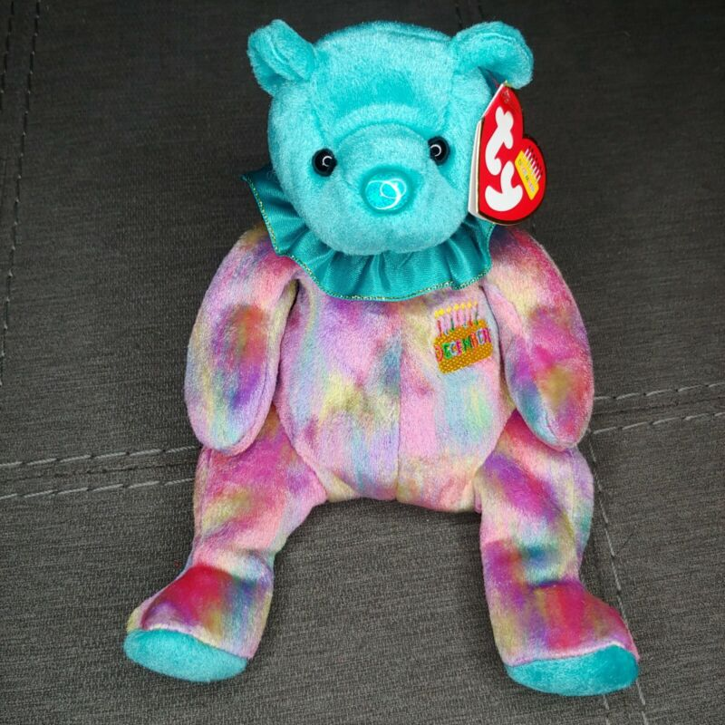 TY Beanie Baby December The Birthday Bear Tie Dye Turquoise Nose With Tag
